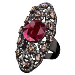 Sutra 18 Karat Blackened Gold Oval Ruby Ring 2.97 Carat with Brown Diamonds