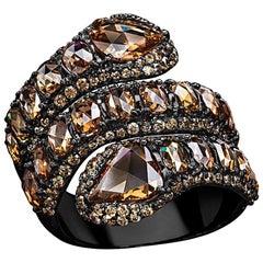 Sutra 18 Karat Blackened Gold with Brown Diamonds Double Serpent Ring