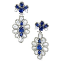 Sutra 18 Karat Gold Flower Drop Earrings with Rose Cut Diamonds and Sapphires