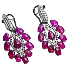 Sutra 18kt Blackened Gold 12.25 Carat Ruby and 1.48 Carat, Diamond Drop Earrings