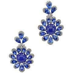 Sutra 18KT Gold, 11.56 Carat Tanzanite, 13.73 Carat Sapphires & Diamond Earrings