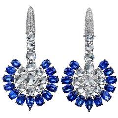 Sutra 18KT White Gold, 14.28CT. Blue Sapphire & 8.52 Carat Diamond Fan Earrings