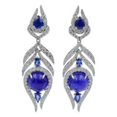 Sutra Feather Earrings in 18 Karat Gold with Tanzanite Sapphire and Diamond