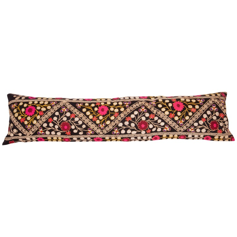 Suzan Lumbar Pillow Case Fashioned from a Mid-20th Century Uzbek Suzani For Sale