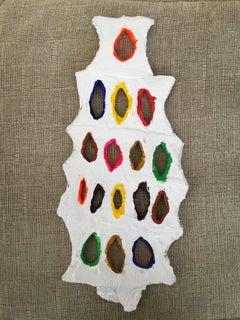 Suzan Shutan, Peepholes_ 2018, clay, acrylic paint, 14.5. x 6.5 x .25in, Pop art