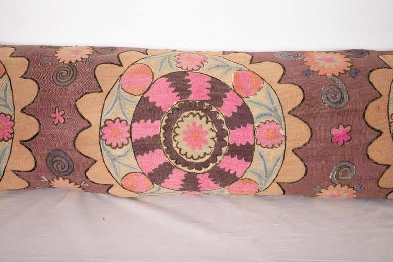 Embroidered Suzani Body Pillow Fashioned from a Tashkent Suzani, Uzbekistan For Sale