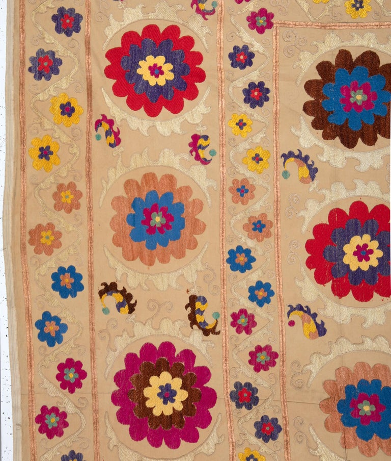 Cotton Suzani from Bukhara, Uzbekistan, Central Asia, 1970s For Sale