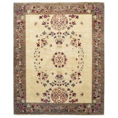 Suzani Hand Knotted Area Rug in Mocha New Zealand Wool