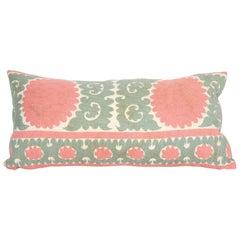 Suzani Lumbar Pillow Case Fashioned from a Mid 20th C Suzani from Uzbekistan