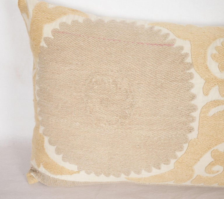 Embroidered Suzani Lumbar Pillow Case Fashioned from a Mid-20th Century Uzbek Suzani For Sale