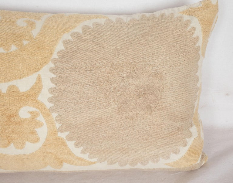 Cotton Suzani Lumbar Pillow Case Fashioned from a Mid-20th Century Uzbek Suzani For Sale