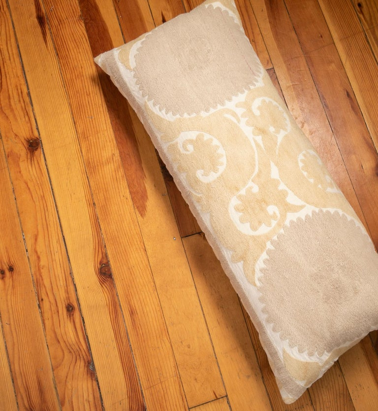 Suzani Lumbar Pillow Case Fashioned from a Mid-20th Century Uzbek Suzani For Sale 2