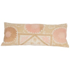 Suzani Lumbar Pillow Case Fashioned from a Mid-20th Century Uzbek Suzani