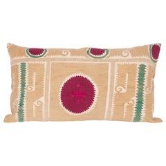 Suzani Lumbar Pillow Case Fashioned from a Samarkand Suzani, Mid-20th Century