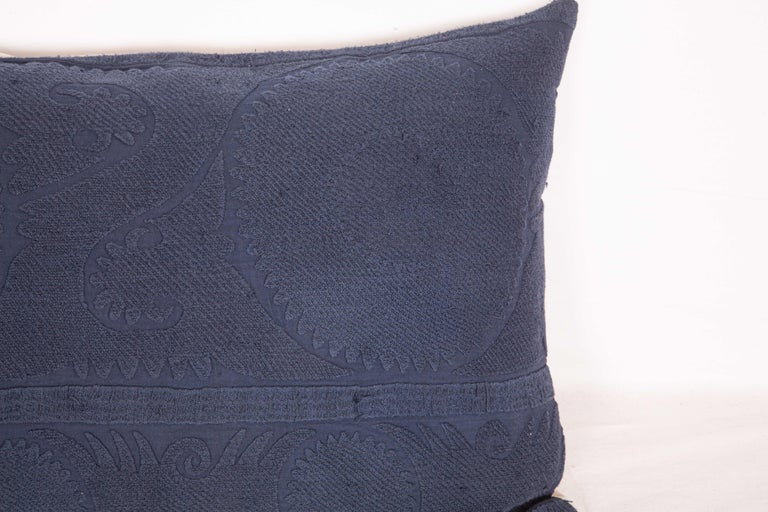 Uzbek Suzani Lumbar Pillow Case Fashioned from an Over-Dyed Suzani, Mid-20th Century For Sale