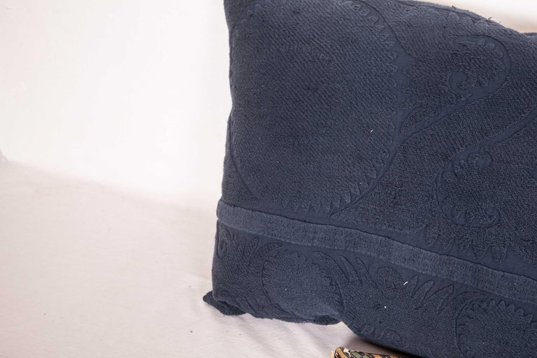 Cotton Suzani Lumbar Pillow Case Fashioned from an Over-Dyed Suzani, Mid-20th Century For Sale