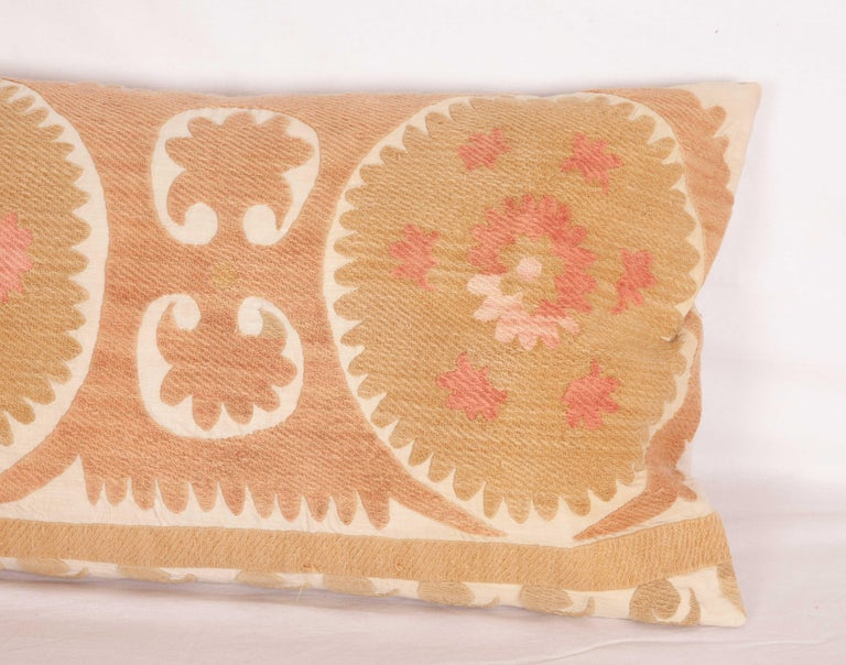 Embroidered Suzani Lumbar Pillow Case Made from a Vintage Uzbek Suzani, Mid-20th Century For Sale