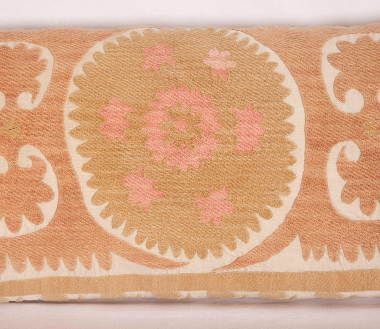 Suzani Lumbar Pillow Case Made from a Vintage Uzbek Suzani, Mid-20th Century In Good Condition For Sale In Istanbul, TR