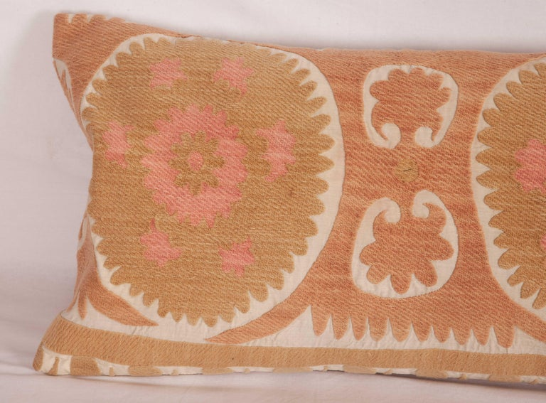 Cotton Suzani Lumbar Pillow Case Made from a Vintage Uzbek Suzani, Mid-20th Century For Sale