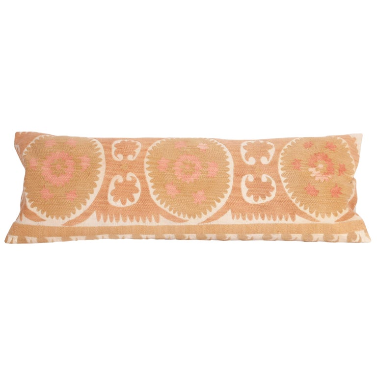Suzani Lumbar Pillow Case Made from a Vintage Uzbek Suzani, Mid-20th Century For Sale