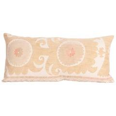 Suzani Lumbar Pillow Case Made from a Vintage Uzbek Suzani, Mid-20th Century