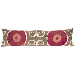 Suzani Lumbar Pillow Case Made from an Early 20th Century Samarkand Suzani