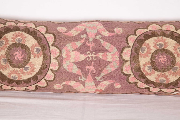 Suzani Lumbar Pillow Cases Fashioned from All-Over Embroidered Tashket Suzani For Sale 4