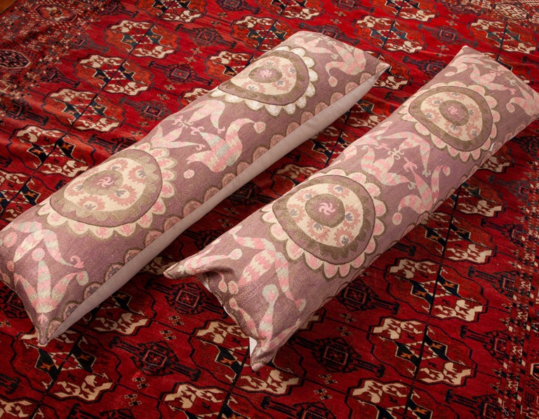 Suzani Lumbar Pillow Cases Fashioned from All-Over Embroidered Tashket Suzani For Sale 5