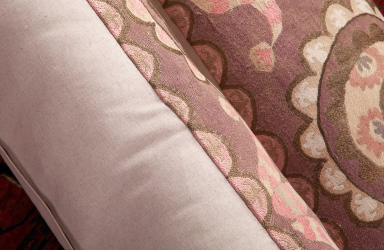 Suzani Lumbar Pillow Cases Fashioned from All-Over Embroidered Tashket Suzani For Sale 6