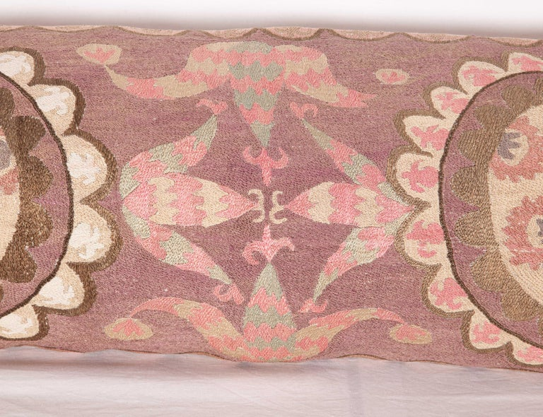 20th Century Suzani Lumbar Pillow Cases Fashioned from All-Over Embroidered Tashket Suzani For Sale