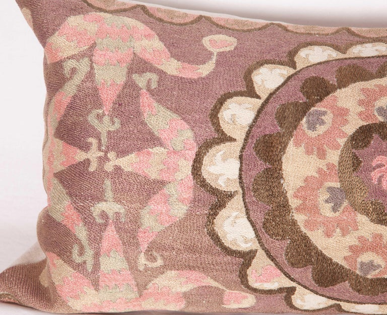 Suzani Lumbar Pillow Cases Fashioned from All-Over Embroidered Tashket Suzani For Sale 1