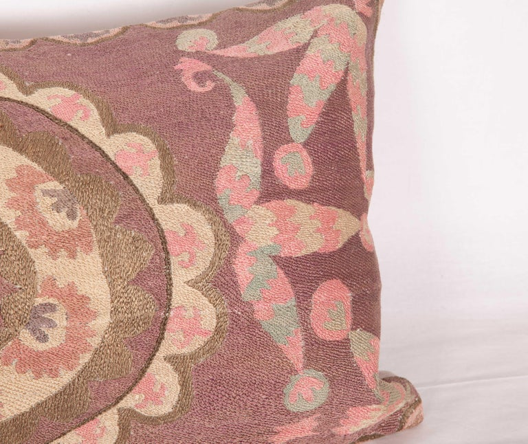 Suzani Lumbar Pillow Cases Fashioned from All-Over Embroidered Tashket Suzani For Sale 2