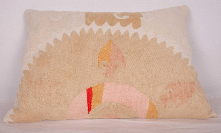 Embroidered Suzani Pillow Case Fashioned from Samarkand, Uzbekistan, Mid-20th Century For Sale