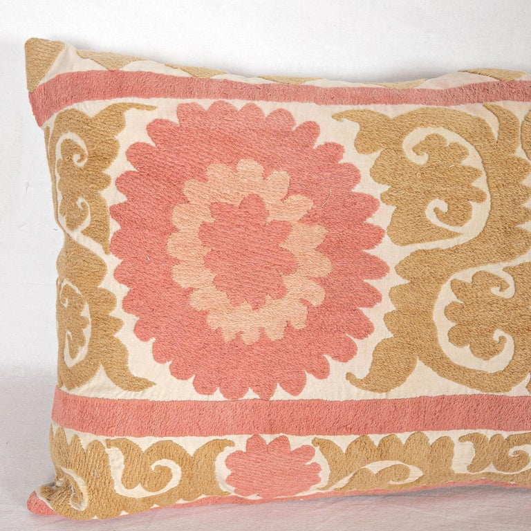 Embroidered Suzani Pillow Case Fashioned from a Mid-20th Century Uzbek Suzani For Sale