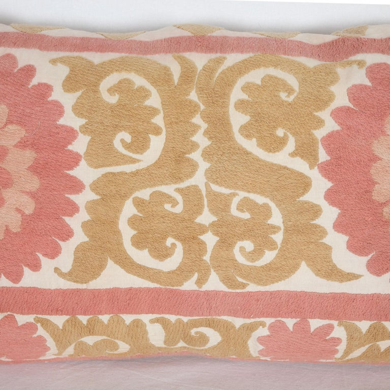 Suzani Pillow Case Fashioned from a Mid-20th Century Uzbek Suzani In Good Condition For Sale In Istanbul, TR