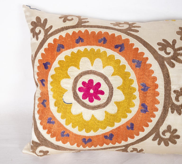 Suzani Pillow Case Fashioned from a Mid-20th Century Uzbek Suzani In Good Condition In Istanbul, TR