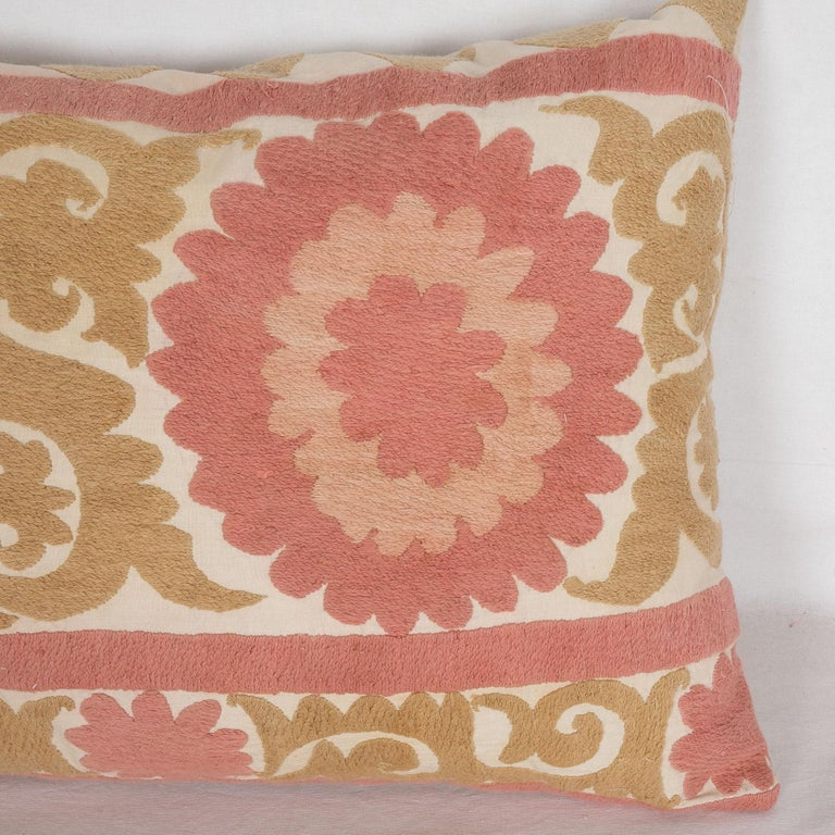 Cotton Suzani Pillow Case Fashioned from a Mid-20th Century Uzbek Suzani For Sale