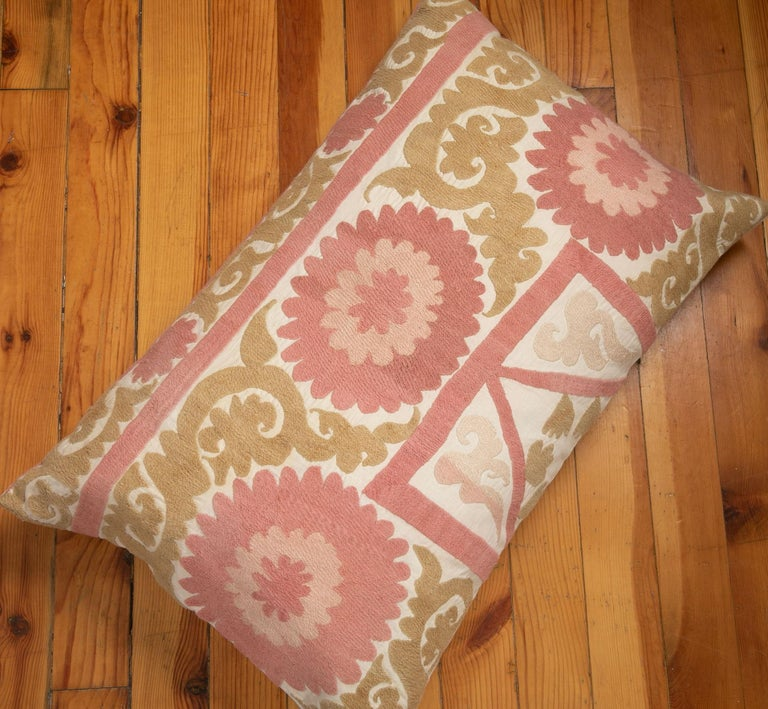 Suzani Pillow Case Fashioned from a Mid-20th Century Uzbek Suzani For Sale 1