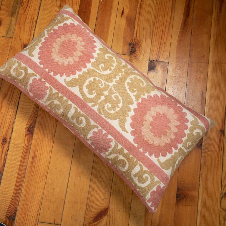 Suzani Pillow Case Fashioned from a Mid-20th Century Uzbek Suzani For Sale 2