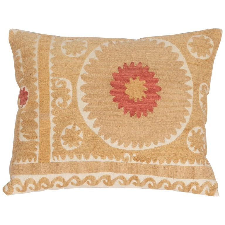 Suzani Pillow Case Fashioned from a Mid-20th Century Uzbek Suzani For Sale