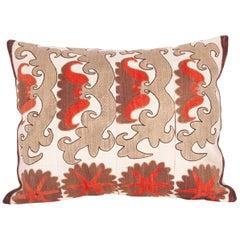 Suzani Pillow Case Fashioned from an Early 20th Century Uzbek Suzani