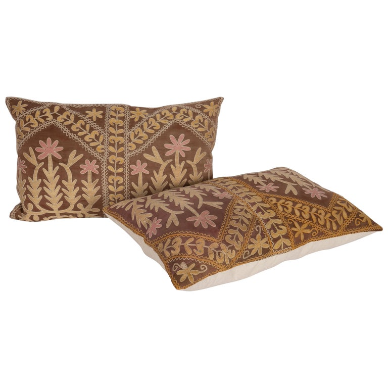 Suzani Pillow Case Made from a Mid-20th Century Samarkand Suzani For Sale