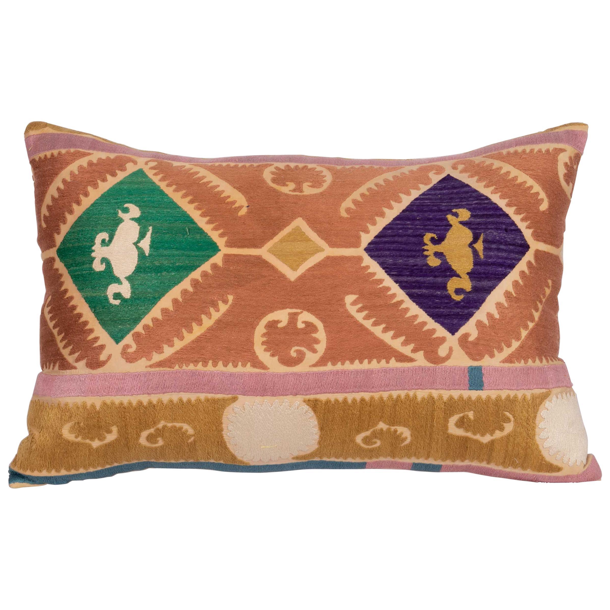 Suzani Pillow Case Made from a Vintage Uzbek Suzani, Mid-20th Century