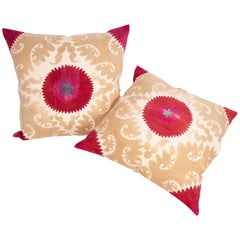 Suzani Pillow Cases /Cushion Covers Made from a Mid-20th Century Uzbek Suzani