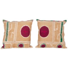Suzani Pillow Cases Fashioned from a Mid-20th Century Samarkand Suzani