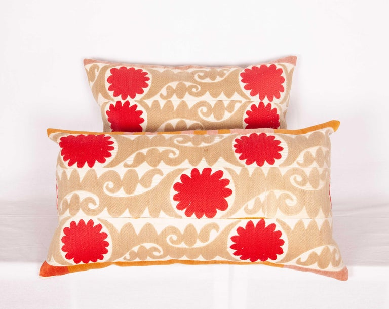 20th Century Suzani Pillow Cases Fashioned from a Vintage Uzbek Suzani For Sale