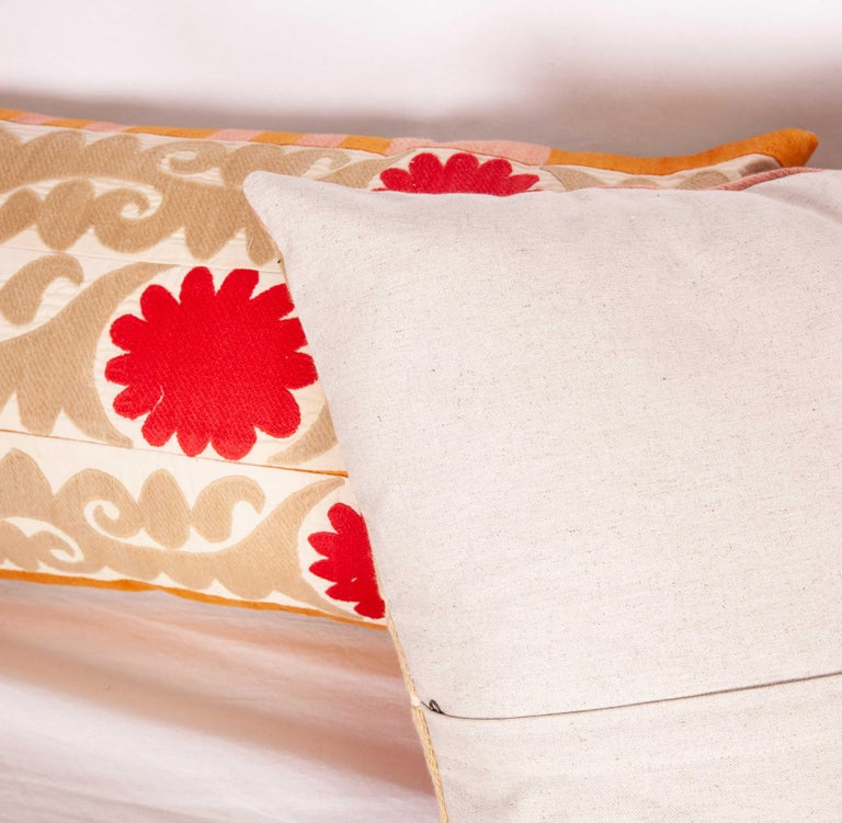 Cotton Suzani Pillow Cases Fashioned from a Vintage Uzbek Suzani For Sale