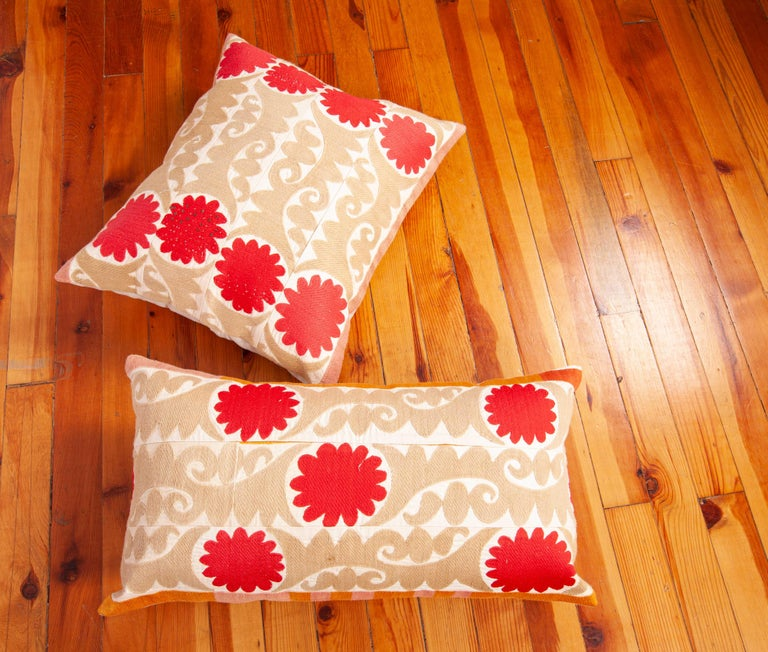 Suzani Pillow Cases Fashioned from a Vintage Uzbek Suzani For Sale 1