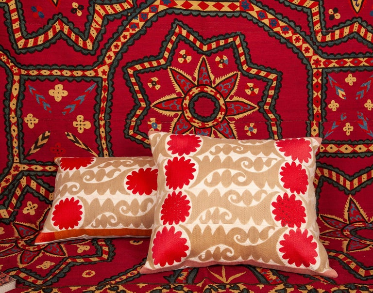 Suzani Pillow Cases Fashioned from a Vintage Uzbek Suzani For Sale 2