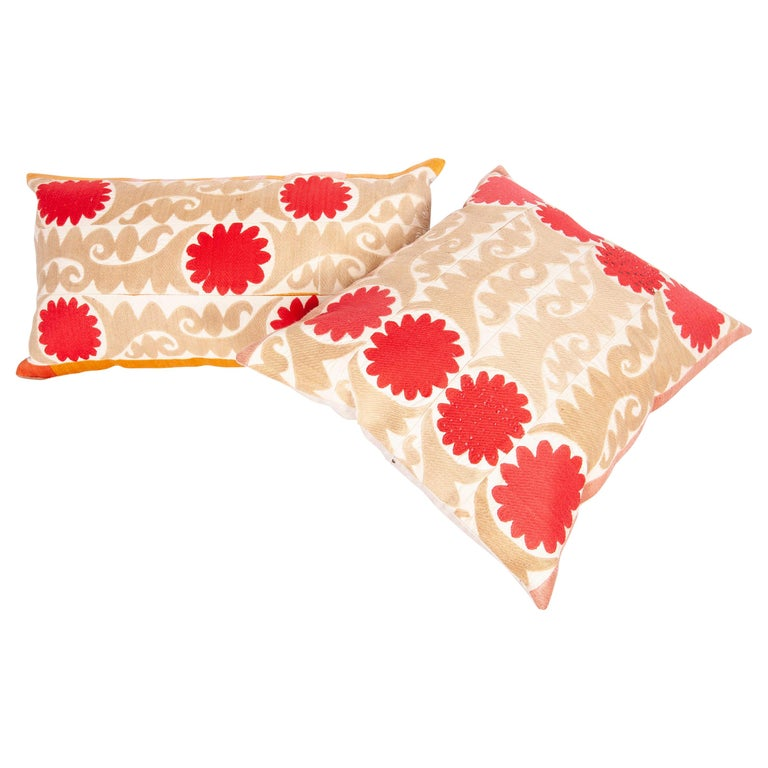Suzani Pillow Cases Fashioned from a Vintage Uzbek Suzani For Sale